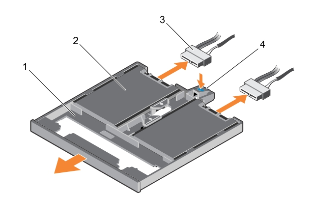 This figure shows removing the 1.8-inch SSD tray.