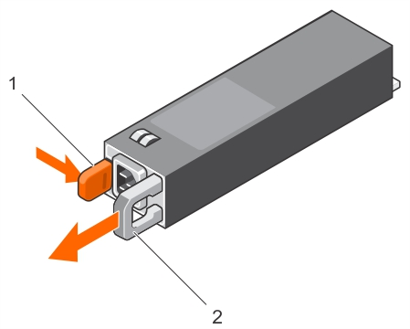 This figure shows removing and installing a redundant PSU.
