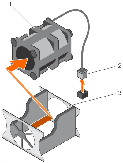 This figure shows removing a cooling fan.