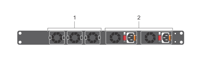 Illustration of the S3048–ON PSU-side view.