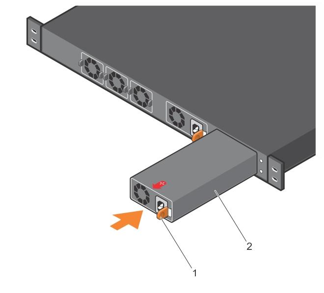 Illustration of installing the PSU.