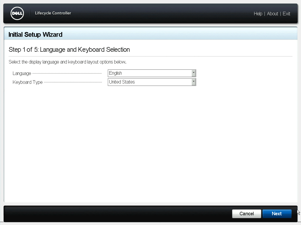 Language and Keyboard Selection Dialog