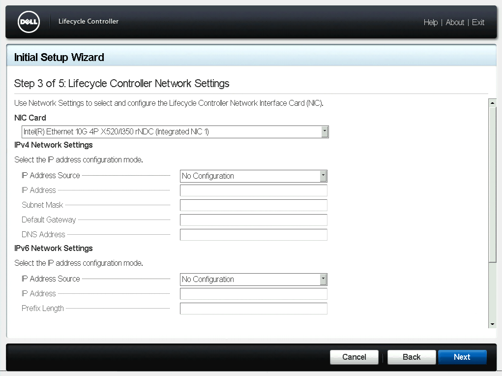 Lifecycle Controller Network Settings Dialog