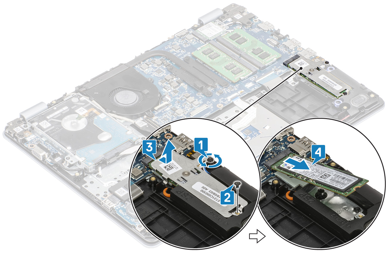 Image: Removing the M.2 SSD or Intel Optane