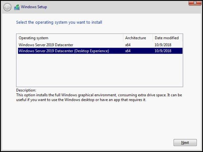 설치할 운영 체제 선택
