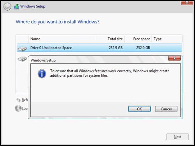 Windows에서 시스템 파일용으로 추가 파티션을 만들 수 있음 표시