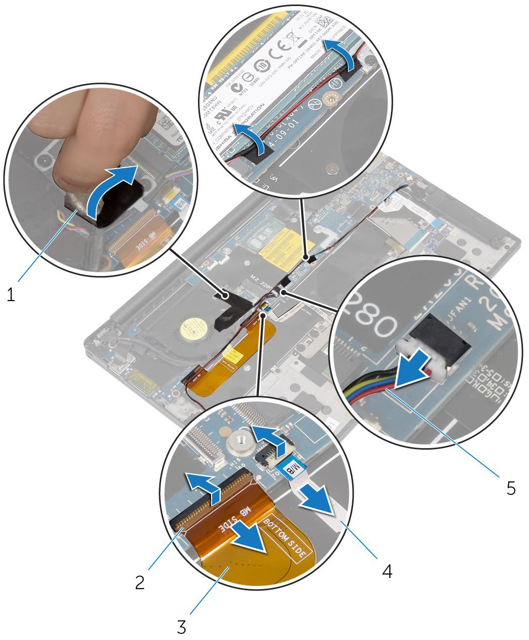 画像:システム基板ケーブルの取り外しおよびテープの取り外し