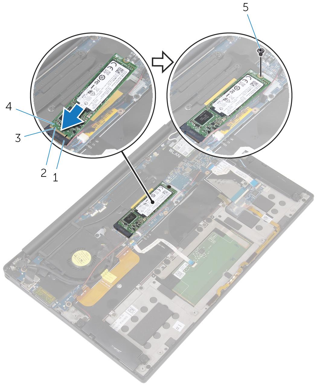 画像:SSD カードの取り付け。