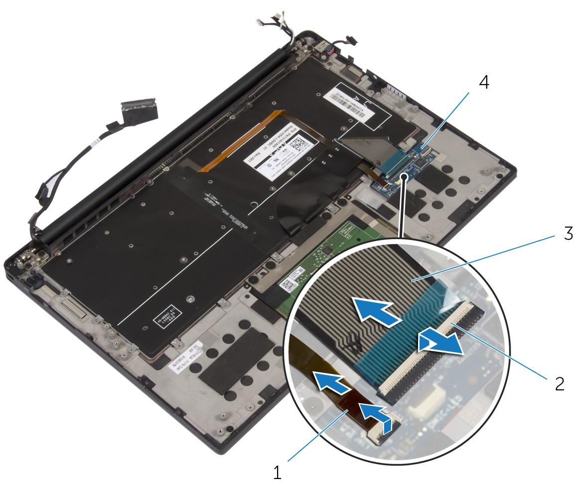 画像:キーボードコントロールボードからのキーボードケーブルとキーボードバックライトケーブルの取り外し。